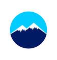 icy mountain top circle symbol design vector image vector image