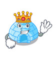 king cartoon ice house igloo on snowing day vector image