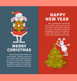 merry christmas and happy new year posters with vector image