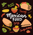 mexican food set with traditional spicy dish vector image vector image