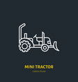 mini tractor flat line icon transportation vector image vector image