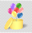 open gold gift box with balloons vector image vector image