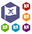 pirate flag icons set hexagon vector image vector image