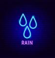 rain drops neon label vector image vector image
