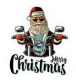 santa claus riding a motorcycle vintage vector image vector image