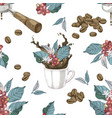 seamless pattern with coffee branches beans vector image vector image