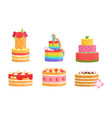 set cakes with colorful icing and cream vector image
