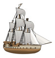 simple an old sailing ship white backgorund vector image