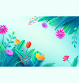 summer background with paper cut fantasy flowers vector image