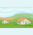 summer rural landscape with farmhouses field with vector image