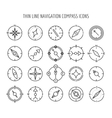 Thin line compass icons vector image vector image