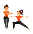 two female people warming up before karate class vector image vector image