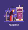 vampire night halloween card vector image