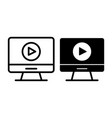 Video player on monitor line and glyph icon