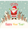 Winter landscape with Santa Claus and deersgifts vector image
