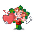 with heart flower bouquet on isolated with mascot vector image