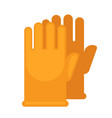yellow rubber gloves for safe cleaning with vector image