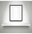 Empty shelf on wall and blank frame vector image