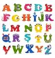 Funny monster alphabet for kids vector image