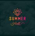 hello summer vintage retro logotype ob vector image