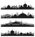 Islamic cityscape with mosque silhouettes vector image