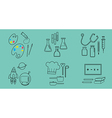 6 occupation icons blue color background vector image vector image