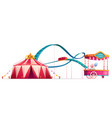 amusement park with circus and roller coaster vector image