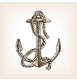 Anchor and rope sketch style vector image vector image