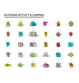 big set camping and outdoor activity icons vector image vector image