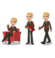 blonde businessman making a break vector image
