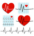 cardiogram of heart rate on the theme of heart vector image vector image