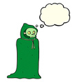 cartoon spooky halloween costume with thought vector image vector image