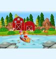 children row boat in stream farm scene vector image vector image