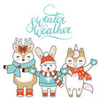 christmas card congratulations with cute vector image