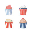 cute birthday party cake icons set in vector image vector image