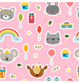 cute seamless pattern with cartoon animals sweet vector image vector image