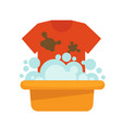 dirty t-shirt and plastic basin with foam and vector image vector image