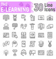 e learning line icon set online education symbols vector image vector image