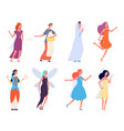 female fairy tales characters women in festive vector image