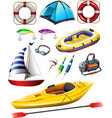 Fishing equipments and boats vector image