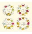 Food flat monograms in retro vector image