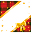 Gold stars bow and ribbon and tartan vector image