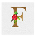 golden letter f watercolor floral background vector image