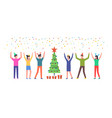 group people celebrate merry christmas vector image vector image