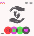 hands holding baby foot protection symbol vector image vector image