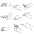 hands set hand holding memory stick computing vector image vector image