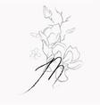 handwritten line drawing floral logo monogram m vector image vector image