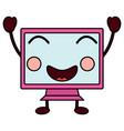 happy computer monitor kawaii icon image vector image vector image