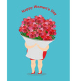 Happy womens day Girl holds large basket of vector image vector image