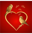 little golden birds and hearts valentines vector image vector image